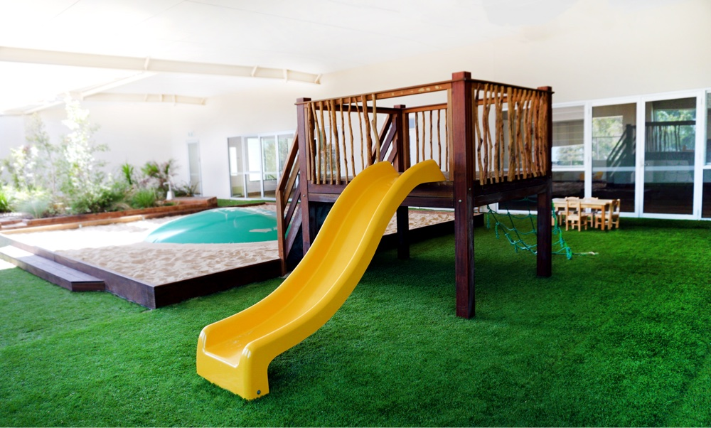 play area with slide